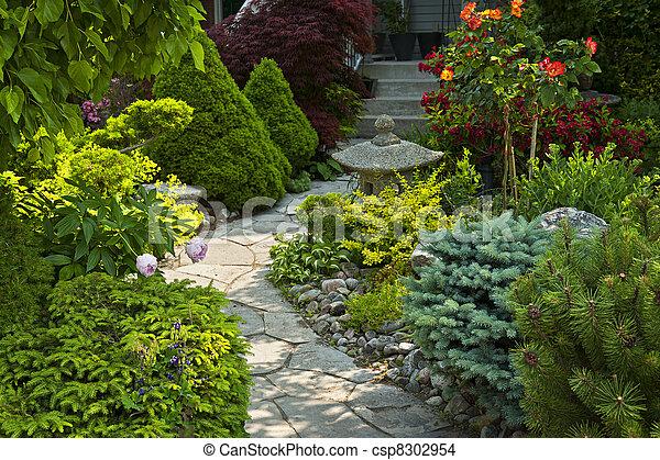 trayectoria, jardín de piedra, ajardinar - csp8302954