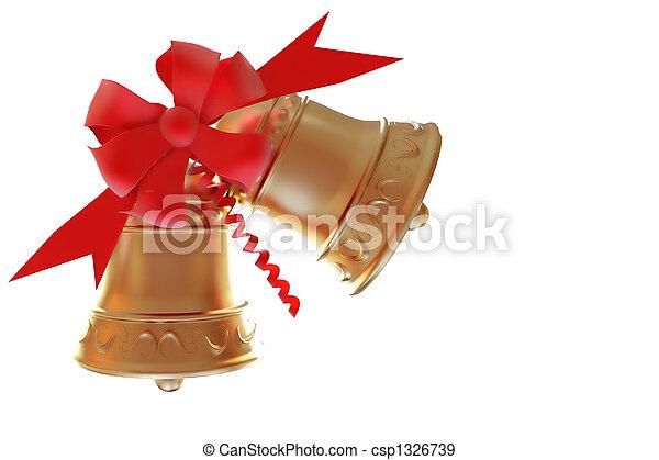 Campanas de Navidad aisladas con caminos cortados - csp1326739