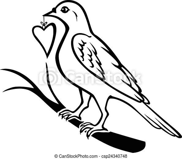 trazido coração pássaro presente coração ramo presente