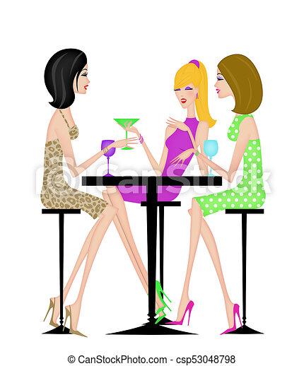 Tre Amiche Insieme Chic Detenere Bibite Cocktail Elegante
