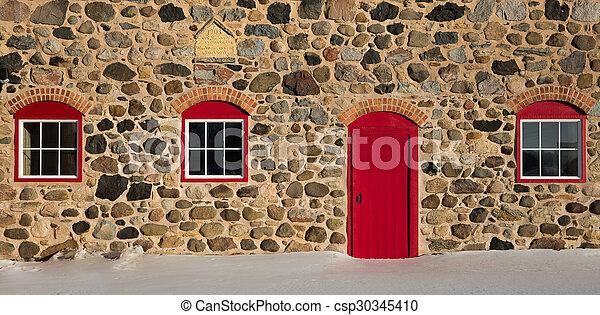 tre, granaio, porta, pietra, windows, vecchio, rosso, luminoso - csp30345410
