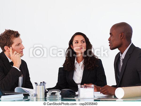 tre, riunione, interagire, persone affari - csp2035840
