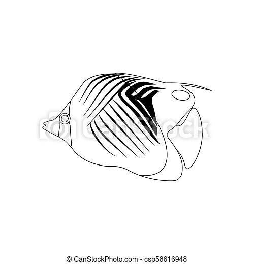 Treadfin Butterflyfish Coloring Pages On The White Background
