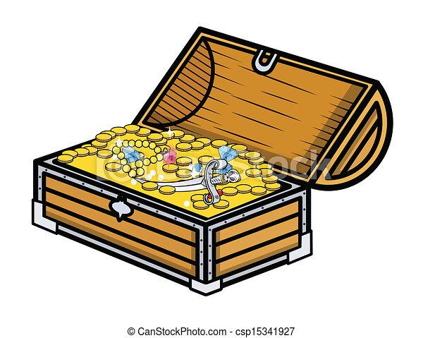 treasure box vector illustration drawing art of cartoon pirate