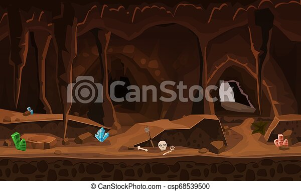 Treasure Cave With Crystals Concept Art For Computer Game Background Image To Use Games Apps Banners Graphics Vector