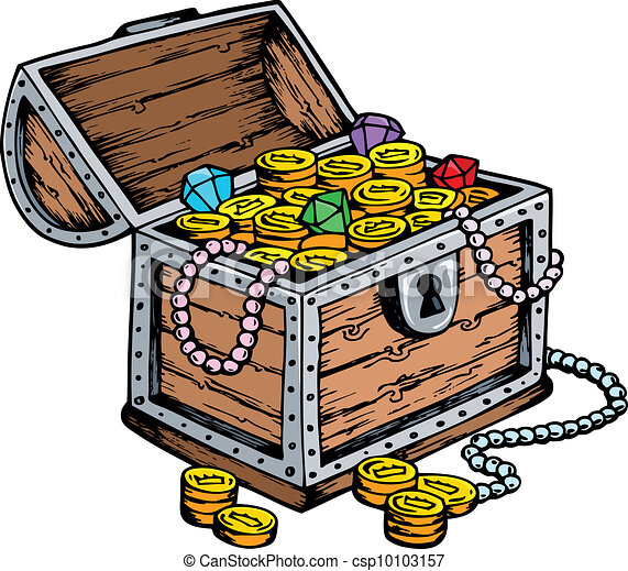 treasure chest drawing vector illustration rh canstockphoto com pirate treasure box clipart open treasure box clipart