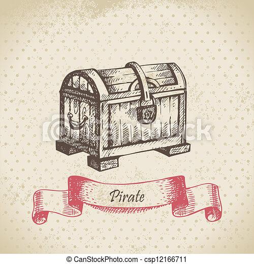 Treasure chest. Hand drawn illustration  - csp12166711