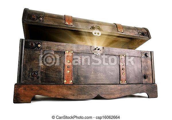 Treasure chest reveals a luminous secret - csp16062664