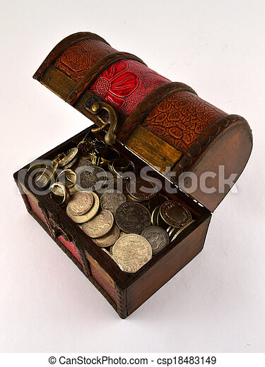 Treasure Chest With Silver coins 2 - csp18483149