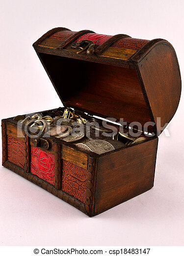 Treasure Chest With Silver coins 3 - csp18483147