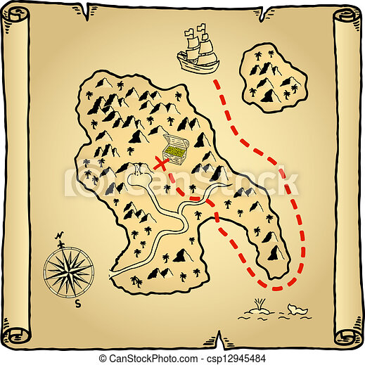 Illustration Of An Old Treasure Map