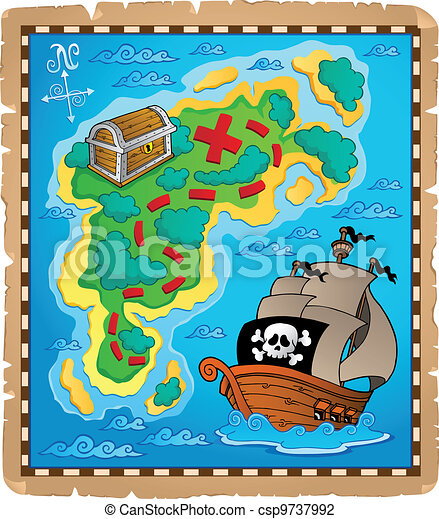 Treasure map theme image 2 - csp9737992