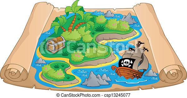 Treasure map theme image 4 - csp13245077