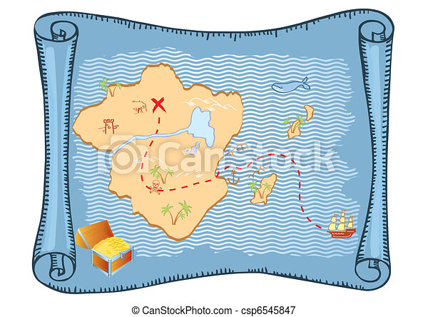 Treasure map. Vector old paper background - csp6545847