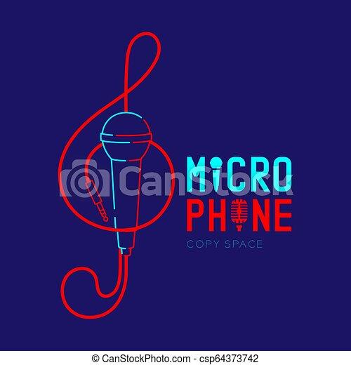 treble, テキスト, ダッシュ, 形, デザイン, ロゴ, 音部記号, 青, マイクロフォン, 隔離された, スペース, イラスト, 暗い背景, 線, コピー, アイコン, 10, アウトライン, ケーブル, eps, ストローク, ベクトル - csp64373742