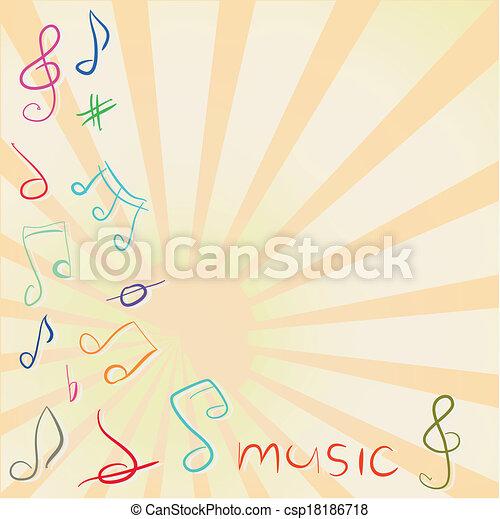 treble, メモ, 音部記号, ミュージカル, 背景 - csp18186718