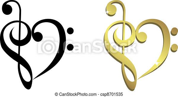 treble, 心, 形作られる, 音部記号 - csp8701535