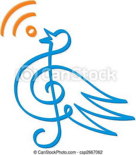 Treble clef bird vector - csp2667062