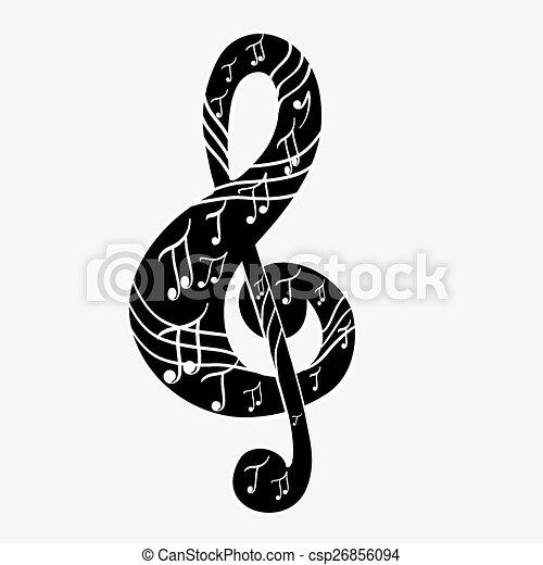 Treble clef - csp26856094
