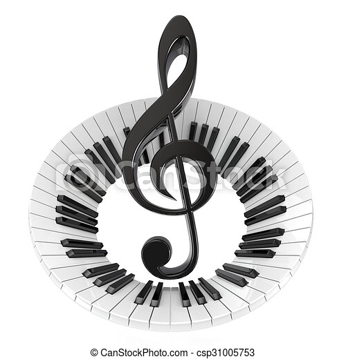 Treble Clef In Abstract Piano Keyboard Symbol Of Music 3d Render