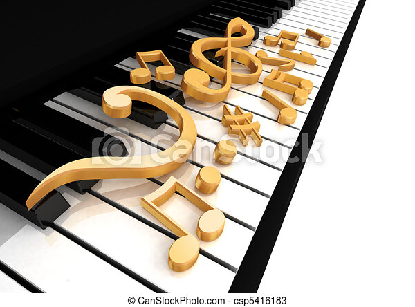 treble clef is on the piano - csp5416183