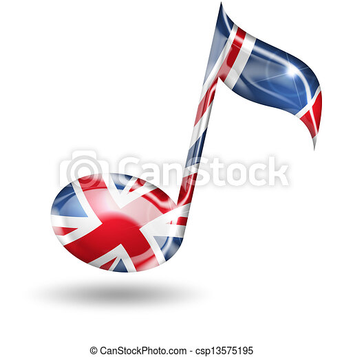 treble clef with English flag colors on white background - csp13575195