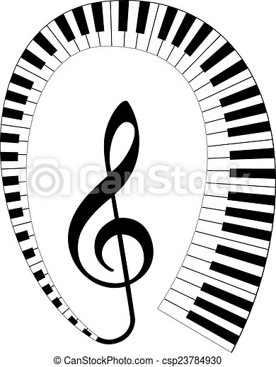 treble clef with keyboard around - csp23784930