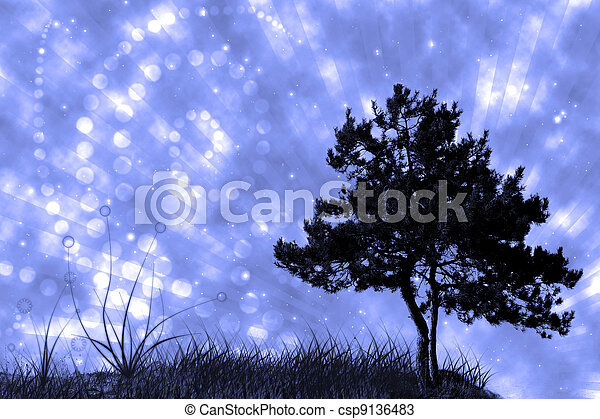 tree and grass on night sky collage - csp9136483