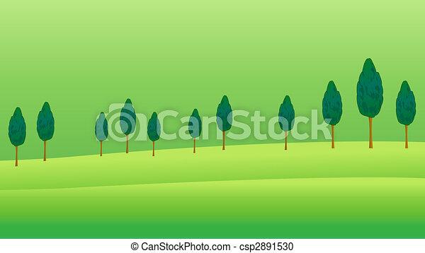 Tree and grassland illustration drawing of many beautiful tree and grassland stock illustration voltagebd Choice Image