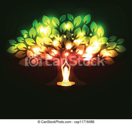 Tree and yoga - csp11716486