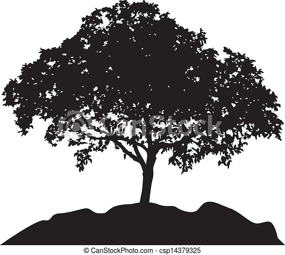 tree at hill silhouette vector - csp14379325