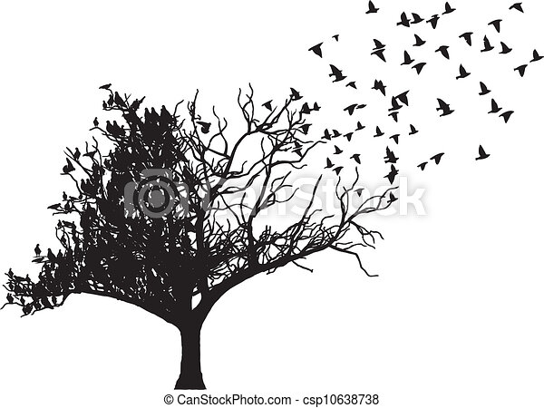 tree bird art vector - csp10638738
