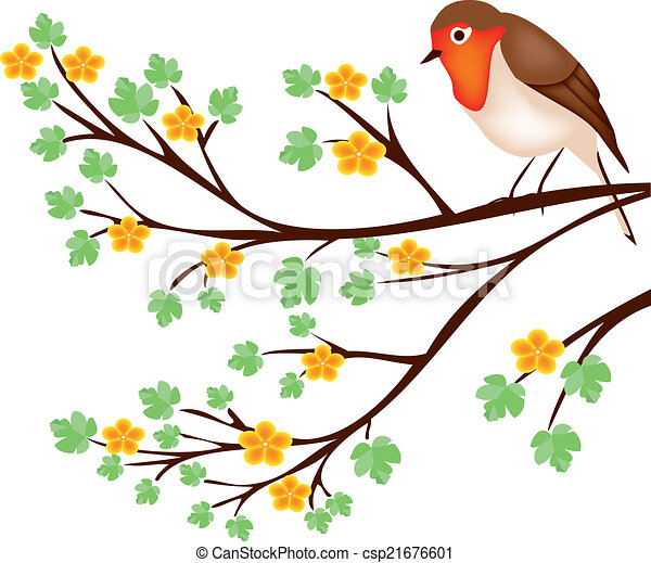 tree branch with a robin is a eps illustrator file vector clipart rh canstockphoto com branch vector branch vector ban plus near mi