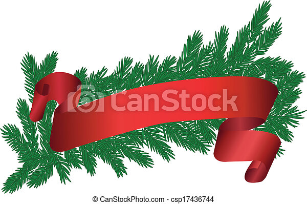 tree brunch with red ribbon - csp17436744