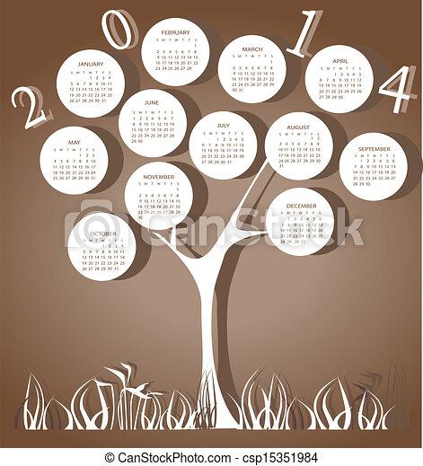 Tree calendar for 2014 year - csp15351984