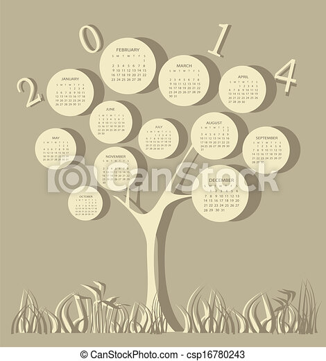 Tree calendar for 2014 year - csp16780243