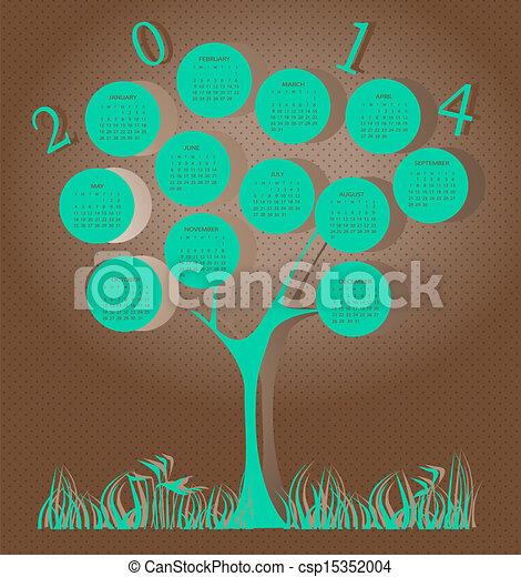 Tree calendar for 2014 year - csp15352004