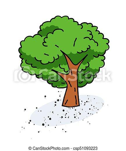 Tree cartoon hand drawn image - csp51093223