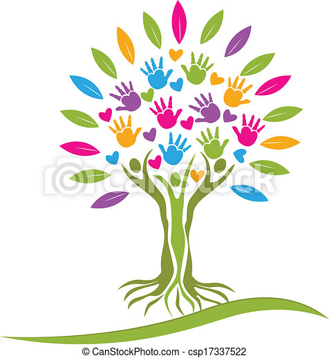 Tree colorful hands and hearts logo - csp17337522