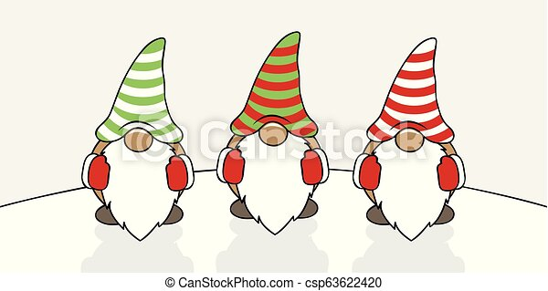 Christmas Gnome Drawing.Tree Cute Christmas Gnomes With Striped Hats