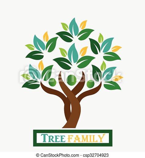Tree family people logo - csp32704923
