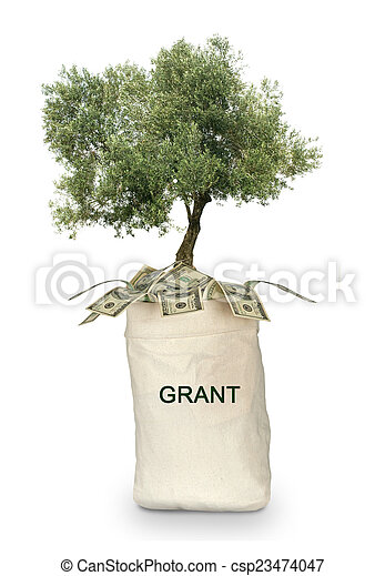 Tree growing from grant - csp23474047