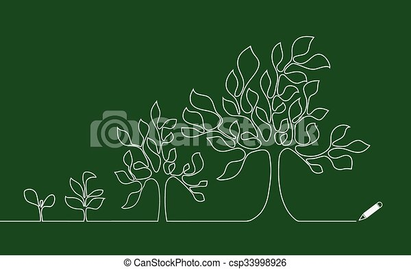 Line Drawing Vector Graphics : Tree growing continuous lines drawings. vector illustration search