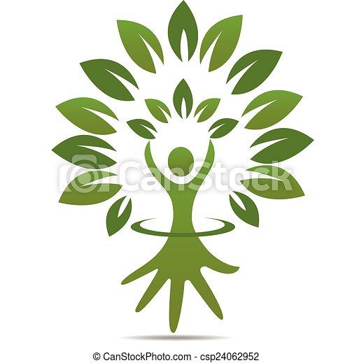 Tree hand figure symbol logo - csp24062952