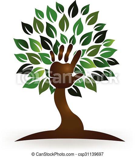 Tree hand symbol logo - csp31139697