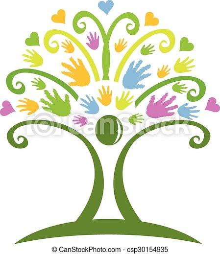 Tree hands logo  - csp30154935