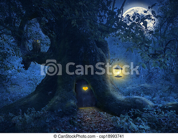 Tree home in the magic forest - csp18993741