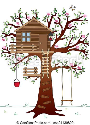 illustration of tree house with swing clip art search illustration rh canstockphoto com Magic Tree House magic treehouse clipart