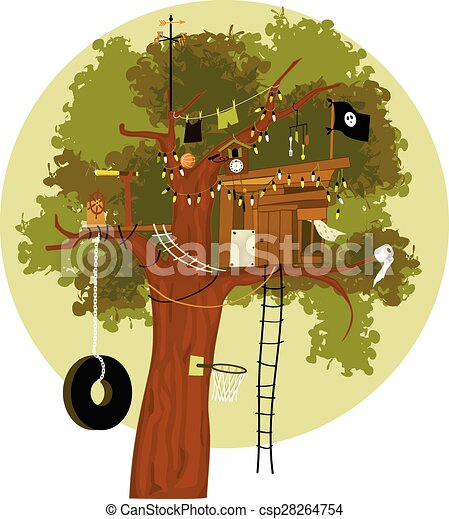 Kids Playing In The Treehouse Stock Vector - Illustration of football,  graphic: 75982466