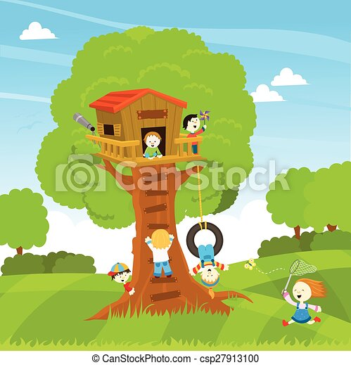 Tree House Clipart #1063584 - Illustration by Ron Leishman   Tree house, House  clipart, Clip art